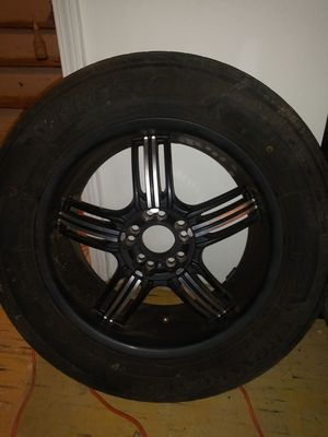 (4) black an chrome 18 inch rims with tires for Sale in Fayetteville, GA