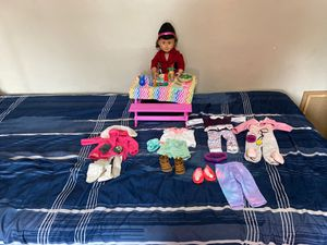 Doll with full sets of clothes and dinner set for Sale in Los Angeles, CA