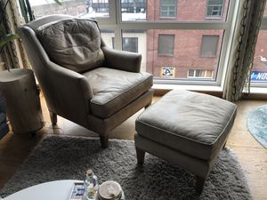 Masins (Seldens) leather chair and ottoman for Sale in Seattle, WA
