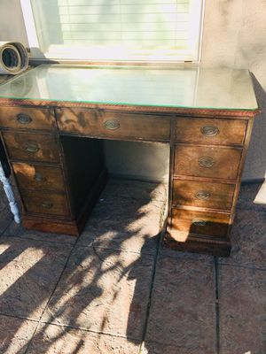 Desk with glass top for Sale in Gilbert, AZ