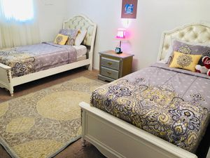 Princesses beds size twin The two beds they come with a rug, One night stand, lamp, Two frames, two mattresses, pillows,and blankets for Sale in Arlington, TX
