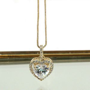 Lovely gold peach heart crystal necklace for Sale in Redwood City, CA