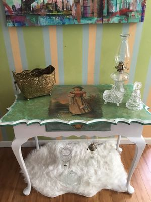 Antique goat feet table, hand painted in the decoupage technique.. Beautiful! for Sale in Dallas, GA