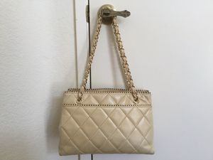 Authentic Chanel beige leather should bag for Sale in Temecula, CA