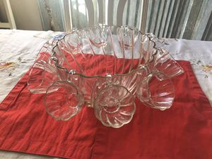 Vintage glass punch bowl with matching unique cups for Sale in Santa Clarita, CA