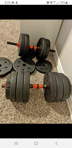 Dumbbell weights with barbel rod totalling 88lbs for Sale in Flower Mound,  TX