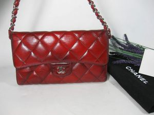 Chanel Red Calfskin Leather CC Long 2.55 Flap Bag Wallet for Sale in Johnsburg, IL