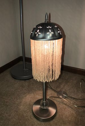 """21"""" Antique BEADED FRINGE DESK LAMP WITH PULEGUSO HAND BLOWN BUBBLE AT BASE ON PEDESTAL AND FILIGREE FLOWERS ON SILVER SHADE for Sale in Plainfield, IL"""