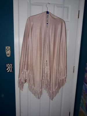 Faux suede light pink shawl with fringe for Sale in Lodi, CA