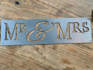 Mr & Mrs Metal Sign with Hanging Hardware for Sale in Charlotte, NC