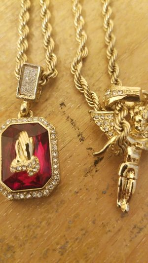 Gold Double Rope Chain with Angel and Prayer Hands Pendants for Sale in Chicago, IL
