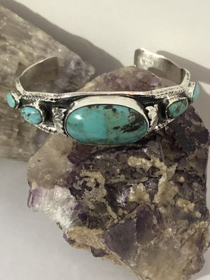 Handcrafted 5 Stone Turquoise .925 Sterling Silver Cuff Bracelet 41g New for Sale in Phoenix, AZ