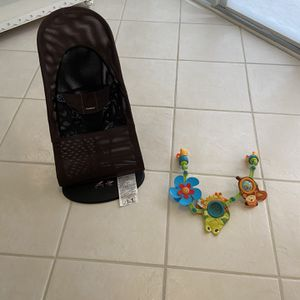 Baby Bjorn Bouncer Chair, Brown Mesh, With Free Toy Bar for Sale in Fort Lauderdale, FL
