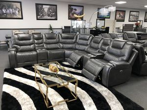 Gray Leather Power Sectional for Sale in Fresno, CA