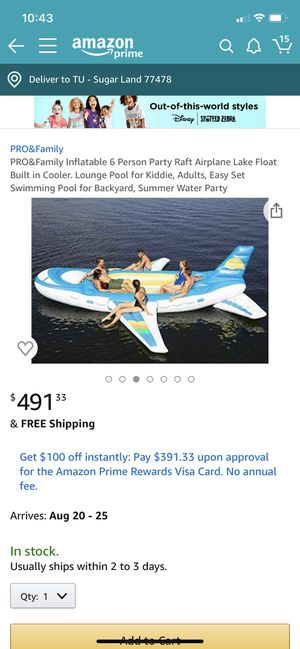 Airplane inflatable boat for 6 people for Sale in Sugar Land, TX