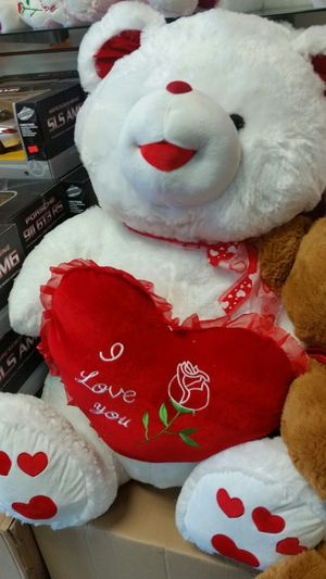 Valentine's gifts, big teddy bear available in white and purple for Sale in Dallas, TX