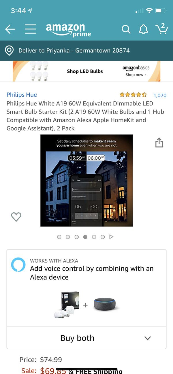 Philips hue personal wireless lighting starter kit ( white ) + philips hue personal wireless lighting white ambiance 2 bulbs