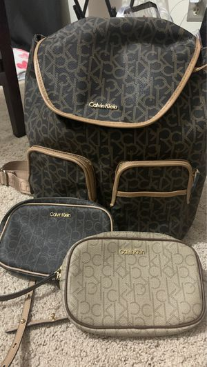 Authentic kelvin Klein Lot backpack and 2 waist bags for Sale in Orlando, FL