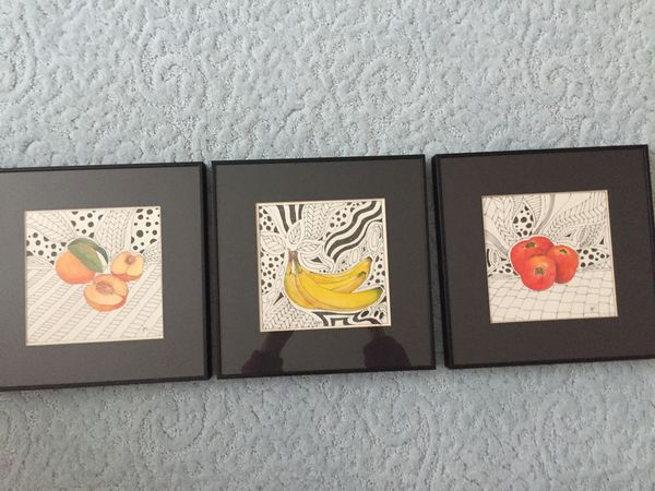 Gail Cunningham Art - mixed media Bananas, Tomatoes, and Peaches