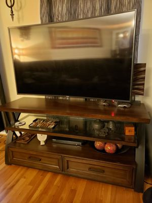 Solid Wood and Metal Entertainment Center with TV Mount. for Sale in Silver Spring, MD
