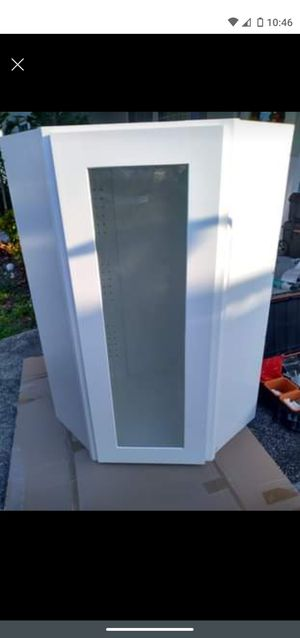 Diagonal Wall Kitchen Glass Cabinet White laundry craft room showcase for Sale in Largo, FL