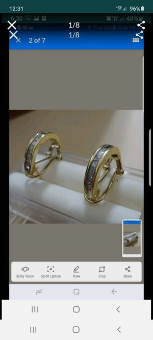14k yellow gold half hoop princess cut genuine diamond earrings for Sale in Vallejo, CA