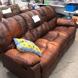 Brown leather reclining couch for Sale in East St. Louis,  IL