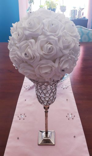 Tall Silver Crystal Beaded Candle Holder and White Rose Ball for Sale in Boston, MA