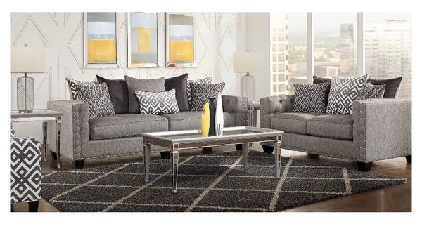 Cindy Crawford Chelsea Hills Gray 7pc Living Room Set