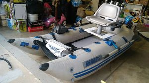 Sea Eagle 285 Inflatable Pontoon w/ Motor & Battery for Sale in San Gabriel, CA