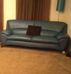 Blue Italian leather couch for Sale in Los Angeles, CA