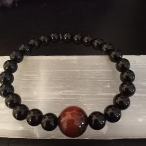 Brand New, Men's Black Onyx And Red Tiger's Eye Stone Bracelet. LAST ONE LEFT. Jewelry Bag Included. for Sale in Rancho Cucamonga, CA
