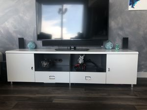 Modern white tv stand for Sale in Tampa, FL