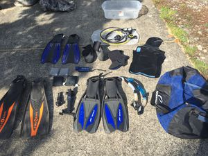 SCUBA equipment - octo, fins, snorkels, boots, weights, knives, neoprene vest, neoprene hood, flashlight, bag for Sale in Vancouver, WA