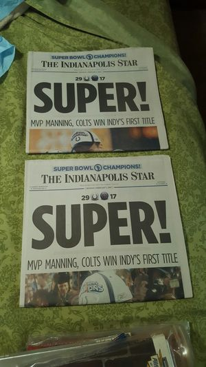 Both issues of the Indianapolis Star newspaper for the colts super bowl win issued February 5th 2007 for Sale in Poland, IN