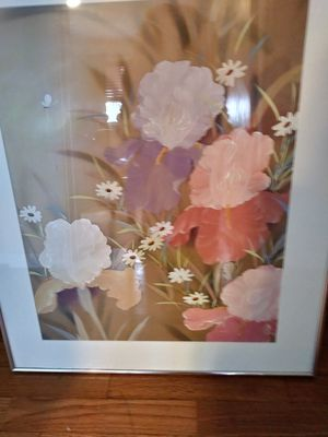 Flowers painting on silk pink white 22 x26 inches for Sale in Tacoma, WA