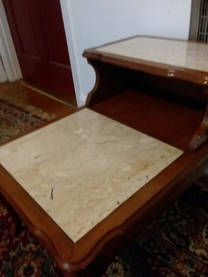 Antique 1940's side table with two large slabs of marked Italian marble made in Italy for Sale in Nashville, TN