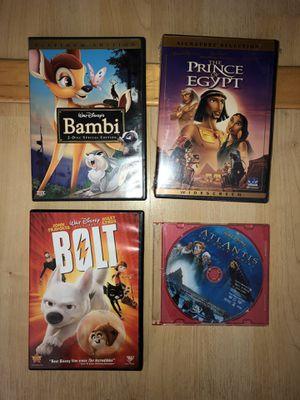 Four Disney movie dvds - Bambi, bolt, Atlantis for Sale in San Mateo, CA