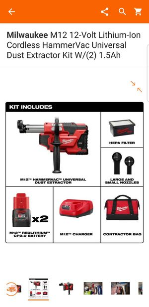 Milwaukee M12 12-Volt Lithium-Ion Cordless HammerVac Universal Dust for Sale in Coral Springs, FL