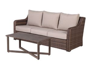 New in box...wicker all-weather patio Sofa and Coffee Table with Beige Cushions for Sale in Boca Raton, FL
