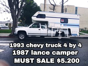 1993 Chevy pickup truck 4 x 4 extra cab with 1987 Lance camper truck got four brand new tires new brakes a lot of good stuff got salvage for Sale in Los Angeles, CA