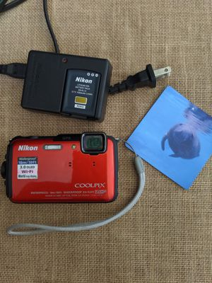 Waterproof perfect condition Nikon CoolPix camera wifi with battery and SD card for Sale in Rancho Cucamonga, CA