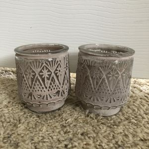 2 Boho Greige Glass Candle Holders Jars for Sale in San Antonio, TX