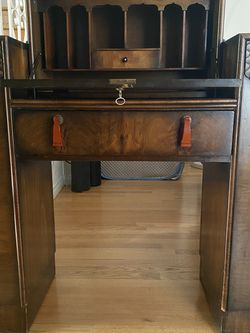 Antique Art Deco Secretary Desk With Stool. Lucite Hardware, Hand Carved Wood Details for Sale in Los Angeles,  CA
