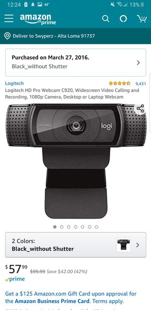 Logitech HD Pro Webcam C920 (No Box/Instructions) for Sale in Rancho Cucamonga, CA