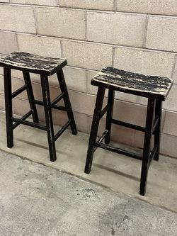 Shabby Chic Black Wood Set Of 2 Bar Stools/ Chairs / IKEA Style for Sale in San Juan Capistrano,  CA