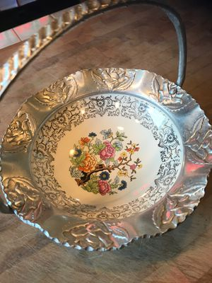 Antique Porcelain And Pewter Candy Dish for Sale in Clifton, NJ