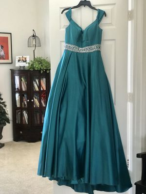 Evening Holiday Ball Dress Teal Green Camille Size 10 for Sale in Scottsdale, AZ