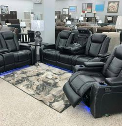 🤞🤞$39 Down Payment. 👈 EXCLUSIVE] Party Time Midnight LED Power Reclining Living Room Set with Adjustable Headrest byAshley for Sale in Washington,  DC