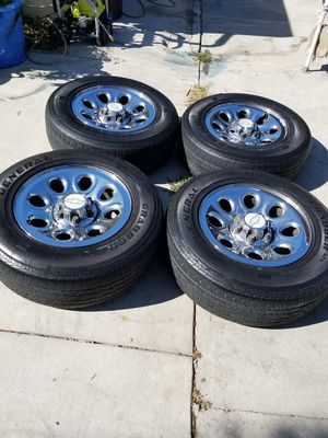 (4)17 inch chevy rims with tires for Sale in Corona, CA
